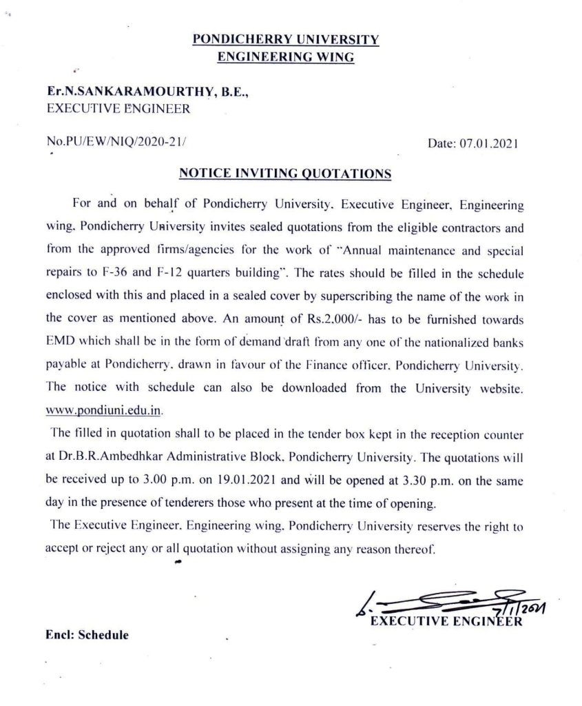 Notice Inviting Quotations Annual Maintenance And Special Repairs To F 36 And F 12 Quarters Building Pondicherry University
